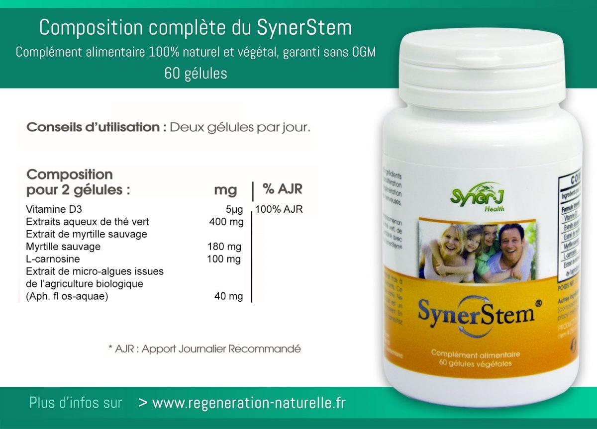 La composition complète et détaillée de tous les ingrédients du SynerStem, puissant stimulateur naturel de cellules souches adultes, complément alimentaire 100% naturel, végétal et Bio garanti sans OGM. Elaboré par l'équipe de Jacques Prunier, fondateur du groupe SynerJ-Health, profitez dès aujourd'hui des bienfaits santé et bien-être du SynerStem.