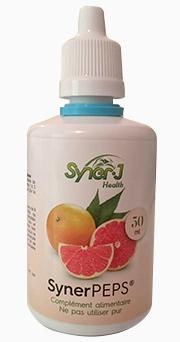 SynerPeps Citropur de SynerJ-Health créé par Jacques Prunier, l'extrait de pépins de pamplemousse (EPP) le plus pur, garanti sans ajout, 100% naturel, antibactérien antibiotique naturel antifongique fongicide virucide antiviral.